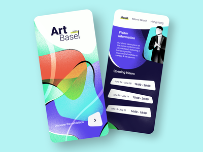 Art Exhibition App font typogaphy gradient sketch drawing art contemporary art exhibition artwork art digital art procreate graphic illustration interaction interface app dailyui ux ui design