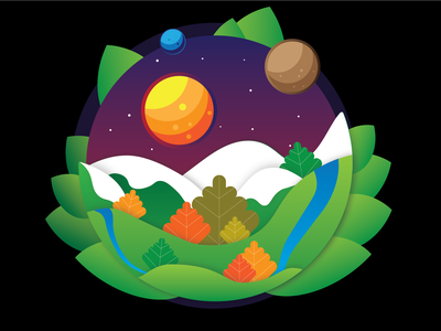 Dreamscape pagan vector earth illustraion
