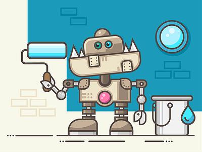 Robo Painter illustration steam punk painter robot