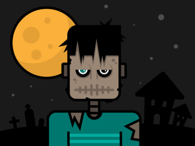 Franky character halloween face illustration