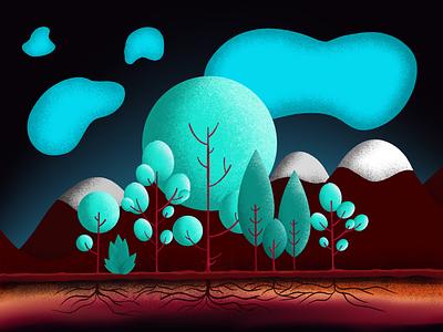 Dreamscape natural design illustration