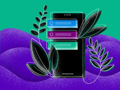Green mobile lineart illustration ui mobile