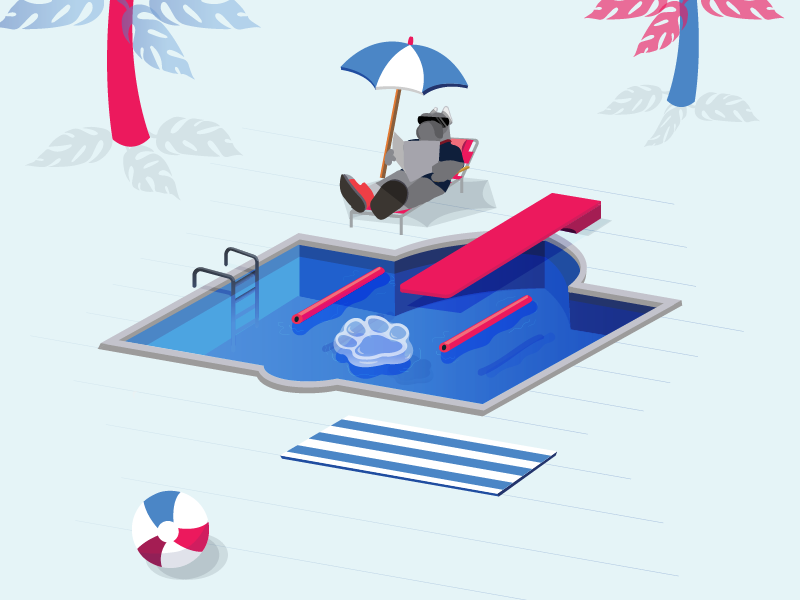 Summer Relaxing pool party university desales relax beach swim pool bulldog illustrator illustration vector