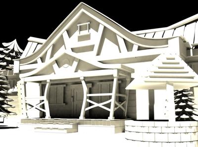 3D Cartoon House Model Vintage Lighting