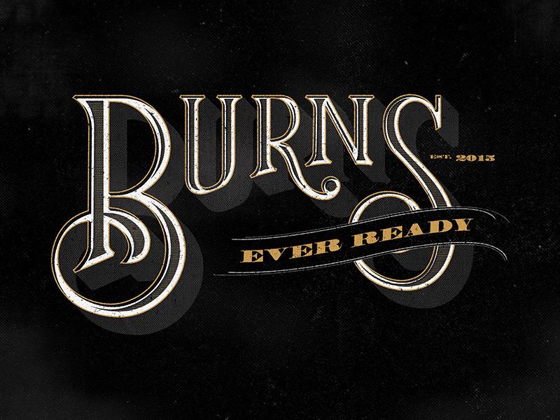 Burns vintage design typography lettering