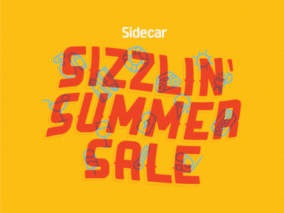 Sizzlin' Summer Sale Email Header sidecar illustration typography vector summer sale icons overprint