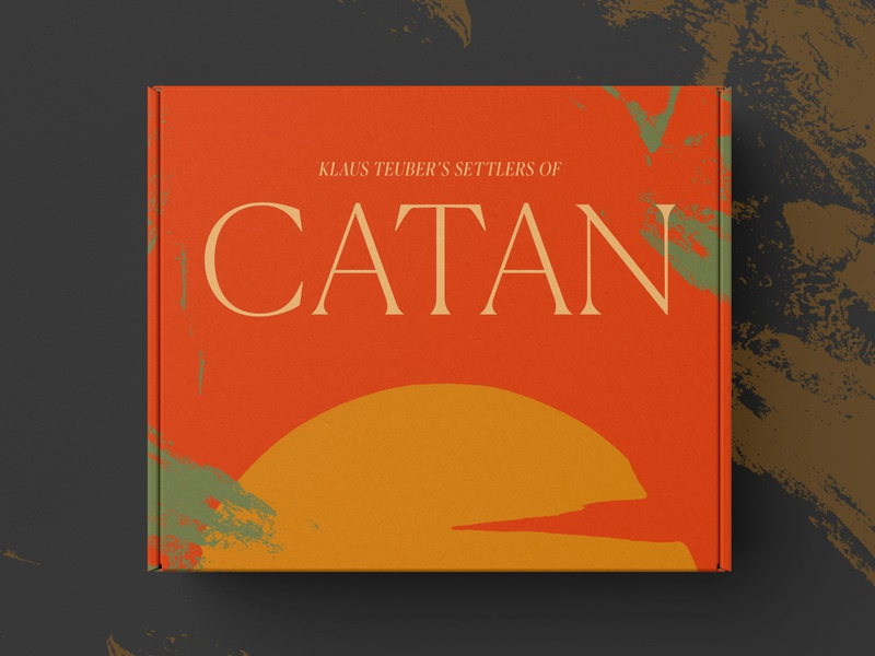 Settlers of Catan Packaging simple design board game art minimal clean red serif branding minimalist simple packaging mockup settlers of catan packaging design board game packaging