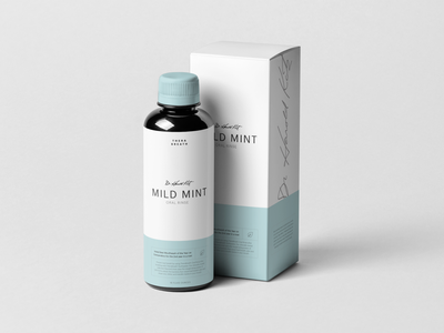 TheraBreath Packaging Redesign design flat blue simple handwritten ui minimal clean photoshop typography package design mockup mouthwash packaging