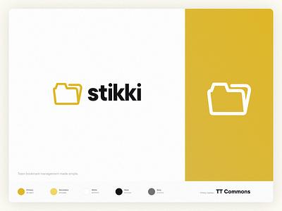 Stikki Logo typography art product design app yellow flat simple typography tt commons vector modernist logo folder logo minimal clean branding design branding logo