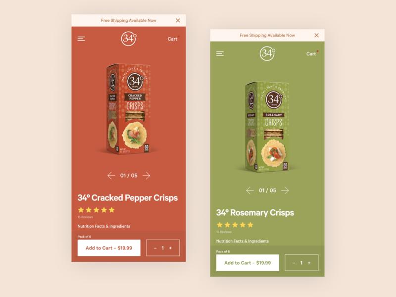 34 Degrees Mobile PDP food cpg mobile web product ecommerce website design ios ux digital flat ui simple minimal clean web mobile