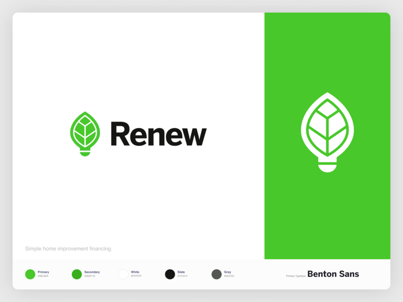 Renew Financial Logo Refresh green typography vector design branding flat simple minimal clean brand identity modernist minimalist light leaf logo brand