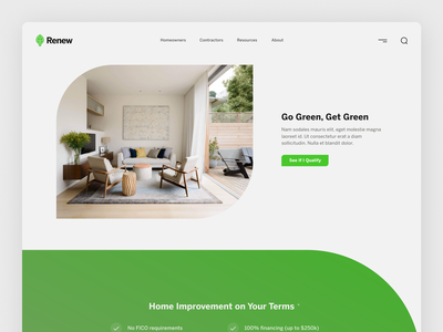 Renew Financial Homepage Redesign homepage solar finance green minimalist energy design typography web digital flat ui simple minimal clean
