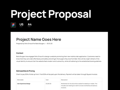 Project Proposal - Template freelance product design proposal template template project project proposal design digital flat simple minimal clean