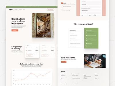 Renno Contractors Page homepage marketing renno website design typography ux web ui digital flat simple minimal clean