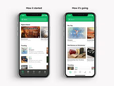 Cardboard Companion – UI Update board game green ios mobile app product design proxima nova soft typography ux ui digital flat simple minimal clean