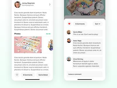Cardboard Companion Community Picks social media comment board game product design ios app design typography ui digital flat simple minimal clean