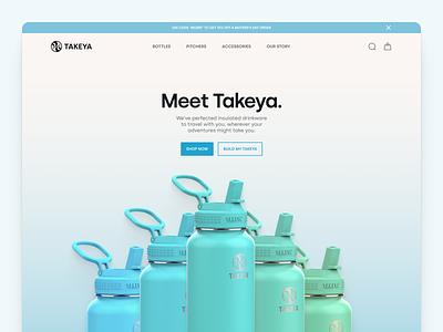 Takeya Homepage simple ui web takeya minimalist flat bottle landing page ui design website design blue homepage water bottle ecommerce