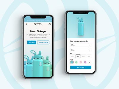 Takeya Mobile selector ui design landing page web design responsive homepage product selector takeya water bottle ecommerce website mobile