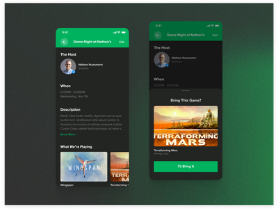 Events Detail Page flat ui simple minimal clean proxima soft dark mode cardboard companion board game event ios mobile app gradient green