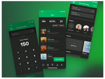 Board Game App – Stats Pages gradient dark mode proxima soft green record stats profiles calculator stats game ios mobile app cardboard companion board game