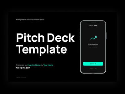 Pitch Deck Template app green manrope design y combinator fundraising seed round figma slide template fundraising deck investor presentation slide template pitch deck template deck pitch deck