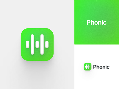 Phonic Logo minimalist simple swiftui typography sf pro rounded logo design phonic sound waves grain app ios sound audio branding logo