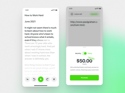 Phonic App price sf pro rounded green swiftui ios flat simple minimal clean app subscription paywall reader audio phonic mobile app