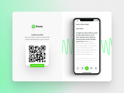 Phonic Website web audio sound simple minimal clean sf pro rounded green download page beta qr code subscription reader mobile app landing page website