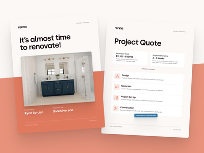 Renno – Invoicing Tool print orange silka interior design digital flat simple minimal clean renno renovation home invoice proposal