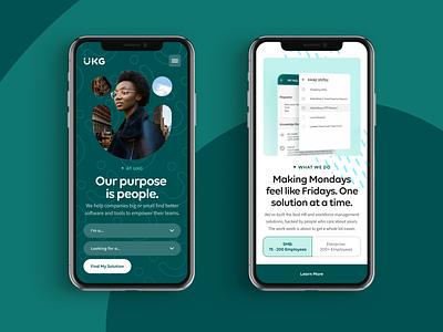 UKG Mobile Pages pattern texture green human resources hr website mobile design web ui digital flat simple minimal clean