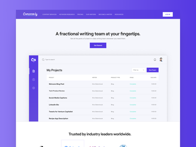 Compose.ly Homepage startup tech saas minimalist roobert purple homepage design web ui digital flat simple minimal clean