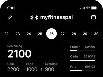 Myfitnesspal tracker calories application iphone ios user interface interface minimal product design mobile