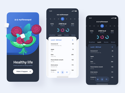Myfitnesspal concept v2 concept dark ios floating button cards food calories product design mobile design