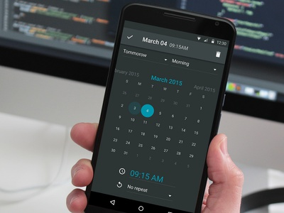 Material dark calendar android application interface material calendar dark design ui