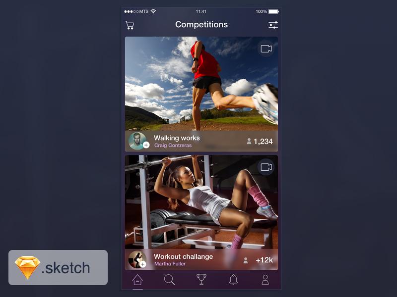 Sport iOS app freebie sketch free freebie ui design interface application ios iphone layout template user-interface