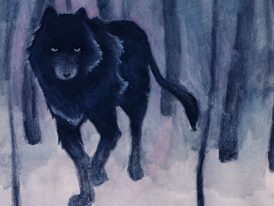 Black Wolf wolf forest painting watercolor illustration art colored pencil