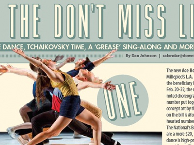 This week's Don't Miss List publication newspaper article photography layout