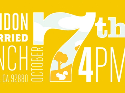 7th wedding invite typography yellow web design