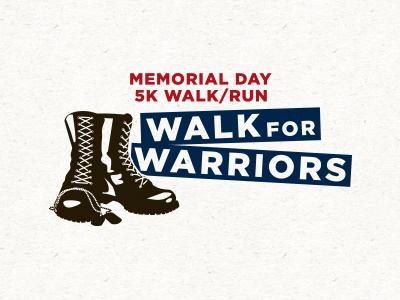 Memorial Day 5K Run/Walk logo logo patriotic red white blue boots veterans memorial day