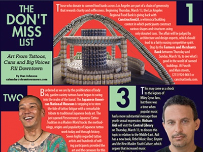 Don't Miss List 3-10 newspaper publication spread column photography article layout