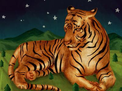 Giant Tiger print tiger painting art animals illustration nature etsy
