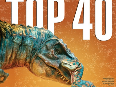 Summer's Top 40 A&E Intro Cover dinosaurs newspaper news entertainment texture blue orange