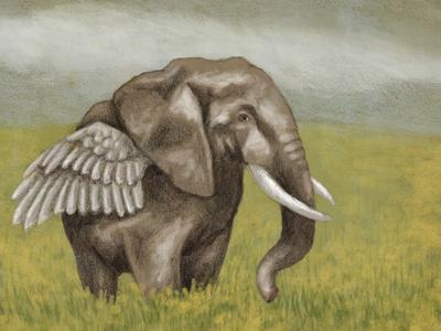 Ellie elephant painting artwork drawing animals wing photoshop mixed media