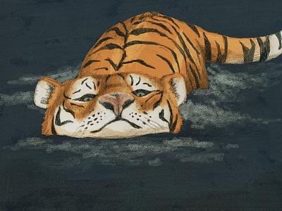 Swimming tiger cat painting drawing art wacom illustration animal digital graphite cute big cat