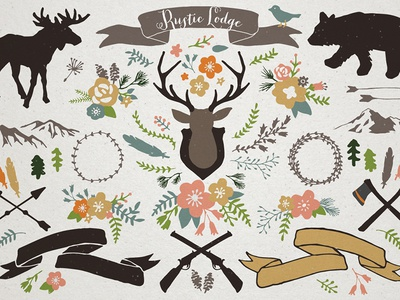 Rustic Mountain Lodge Clipart creative market clipart clip art rustic elk mountains antlers ribbons illustration vector drawing brown