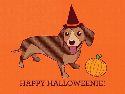 happy halloweenie daschund! daschund dog vector card art halloween cute doxie orange