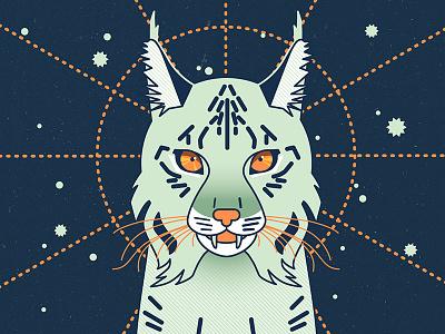 Mystical Lynx society6 etsy art print animals illustration magical mystical blue cute vector cat lynx