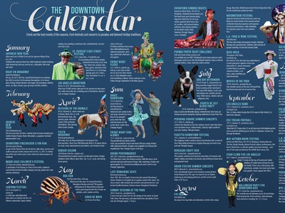 Downtown Guide Calendar to do events blue spread guide la layout magazine calendar los angeles