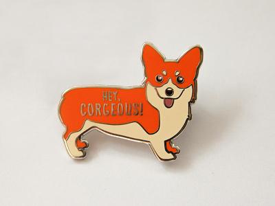Corgi Enamel Pin orange pins cute animals illustration vector products etsy dog corgi enamel pin