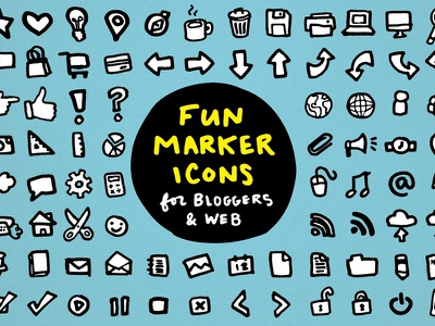 Fun Marker Icons for Bloggers & Web Design outline buttons webdesign clipart creative market resources doodle hand drawn marker blogger icons